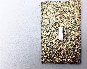 Gold Glitter Light Switch Plate,Outlet Cover,Gold Decor,Office Decor,Bedroom Decor,Glitter Decor