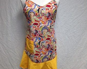 Orange paisley apron