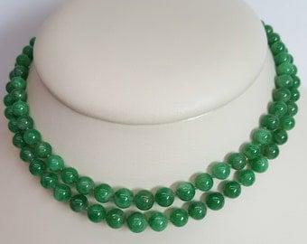 Art Deco GIA Report Untreated Grade A Jadeite Double Row Bead Necklace