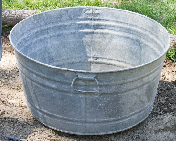 vintage large galvanized wash tub metal wash by