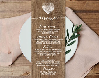 Rustic Menu Card / Custom Wedding Menu / Distressed Rustic Wood, Heart▷ Printable File {or} Printed & Shipped