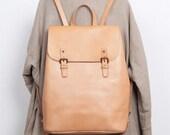 """Unique Design Genuine Leather Backpack, Multiple Pockets, 13"""" Laptop"""