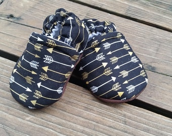 Black with Silver and Gold Arrows Soft Sole Infant Toddler Soft Sole Moccasins Babywearing Shoes Baby Booties