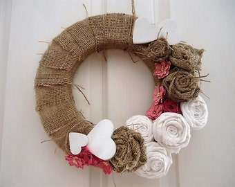 Rustic white and pink flower Wreath