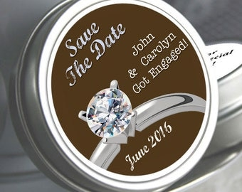 """12 Personalized Save the Date Diamond Ring Mint Tins - Select the quantity you need below in the """"Pricing & Quantity"""" option tab"""