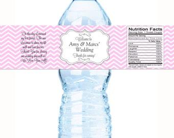 Wedding Water Bottle Labels - Chevron Wedding Labels - Wedding Decor - Chevron Bridal Shower - Welcome Box Labels - Bottle Labels
