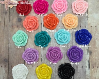 Jumbo 42mm Acrylic Rose Flower Beads for Necklaces you choose colors