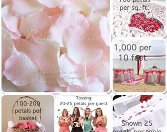 500 Bridal Pink Rose Petals - Silk Rose Petals for Weddings