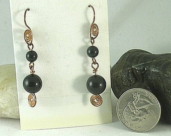 Sacred Spiral Earrings - Onyx Beads - Celtic - Egyptian - Byzantine