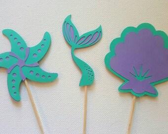 Mermaid Theme Cupcake Toppers-set of 12