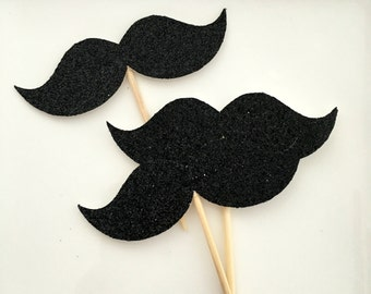 Moustache cupcake toppers .. 30th birthday party .. baby shower