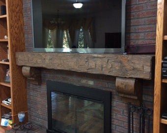 Rustic 6 Foot Hand Hewn Solid Pine Fireplace Mantel
