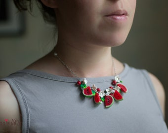 Ready to ship. Watermelon necklace + errings (present)
