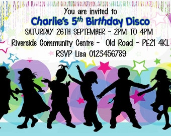 Printed Personalised Disco Birthday Party Invitations x10