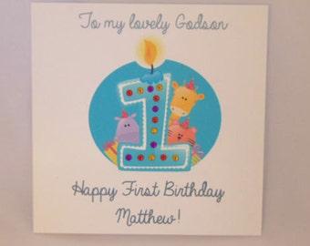 Personalised Handmade Childrens1st Birthday Card-Boy