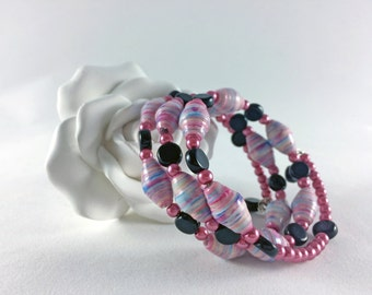 Paper Bead Bracelet. Pink, Blue and White. Memory Wire. Black and Pink Glass Beads