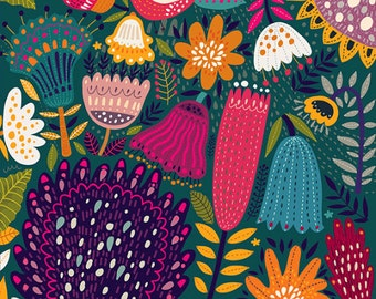 Colorful pattern with flowers on dark background. Fine art prints. Beautiful print for living room, bedroom.