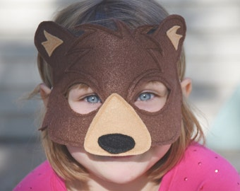 Handmade felt bear mask