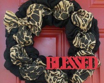 Blessed Wreath- Animal Print Burlap Wreath- Sassy Black Burlap Wreath- Leopard Print Wreath