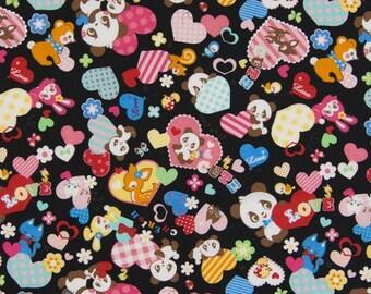 Cosmo Fabric - Panda Anime on Black - Cotton Woven