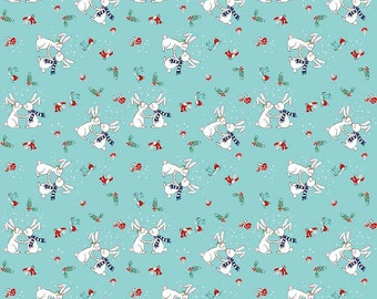 Pixie Noel by Riley Blake - Bunnies Aqua - Cotton Woven Fabric