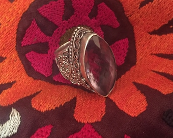 vintage Amethyst Ring ...Sterling Silver,Silver ring ...Handcrafted...Vintage 1980s...Hippie...February Birthstone...Gift...Vintage Shop...