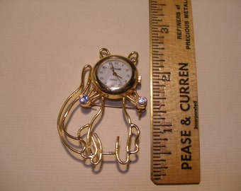 Cat Figural Brooch with LUCINDA Watch(442)
