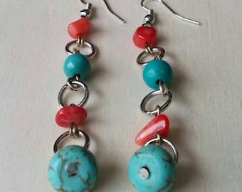 Turquoise blue magnesite and red coral