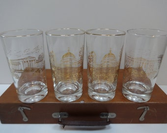 Glasses, Drinking Glasses, Set of Four Glasses, Souvenir Glasses, Beverage Glasses, Glassware, Souvenir Glassware, Souvenir Drinking Glasses