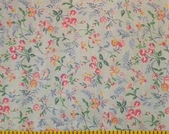 "Light Blue Cotton Fabric with Flower Print 12""x 15"""