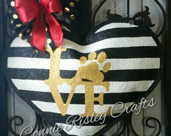 Heart Burlap Door Hanger Decoration with stripes and paw print  Wreath Replacement