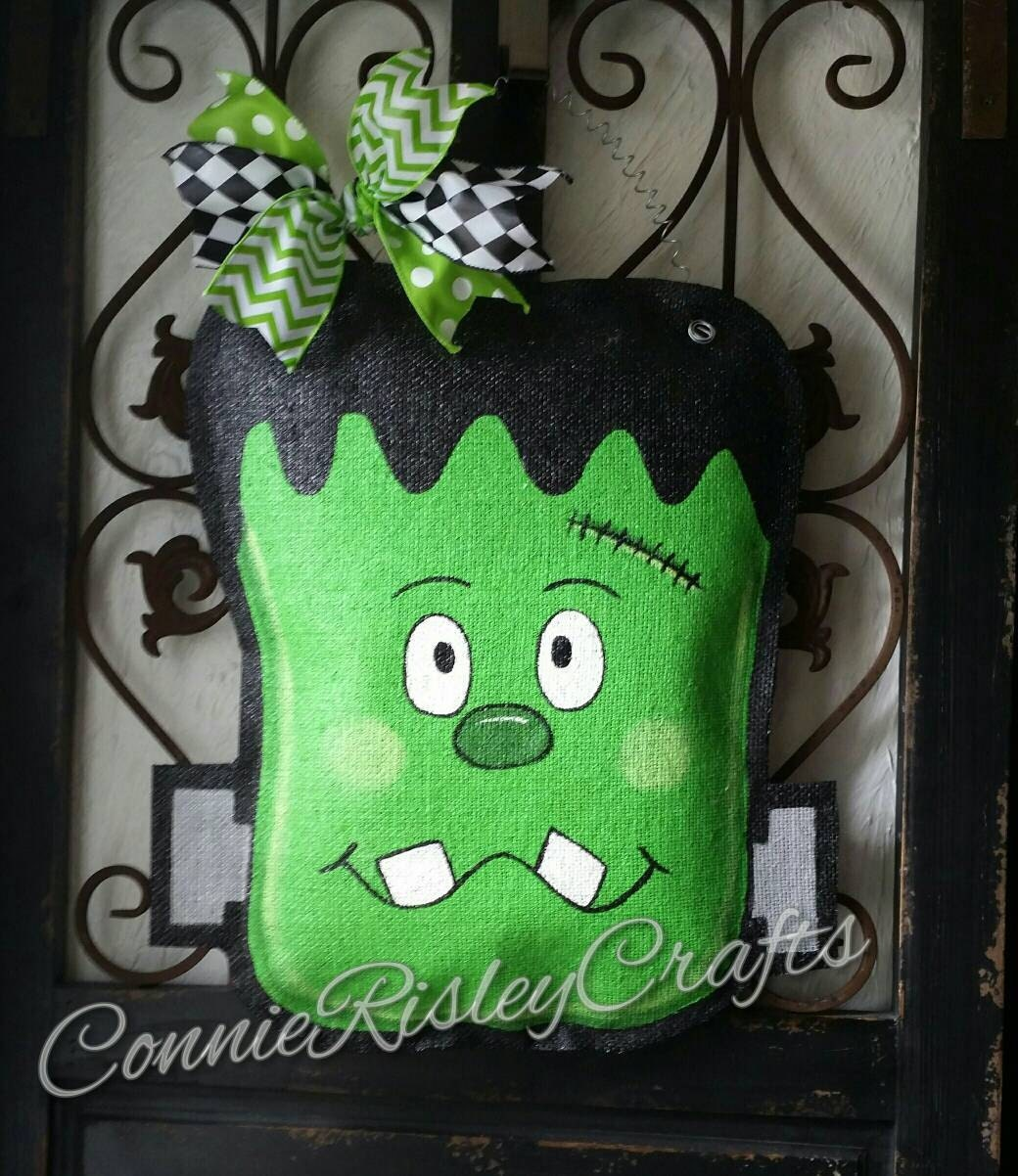Frankenstein Halloween Burlap Door Hanger Decoration and