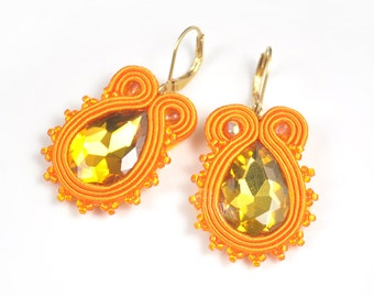 Orange Jewelry, Orange Earrings, Glass Earrings, Sparkling Earrings, Small Soutache Earrings, Birthday Gift For Friend, Light Sunny Earrings