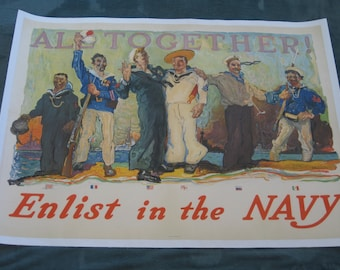 "Original World War I Henry Reuterdahl recruiting poster ""All Together Enlist in the Navy!"" 1917, vintage WWI, Navy, linen backed, militaria"