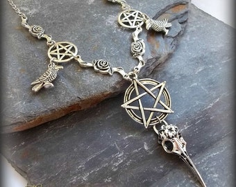 Crow Skull Necklace, Gothic Crow Necklace, Wiccan Necklace, Pentagram Necklace, Pagan Necklace, Witches Necklace, Silver Roses Necklace