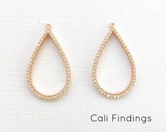 18K ROSE Gold Plated Teardrop Pendant, Cz Pave Teardrop, Teardrop Charm, Teardrop Pendant, Teardrop Earring Component, Cz Teardrop [1248]