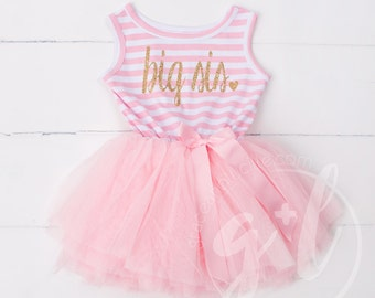 Big Sister Dress, Big Sis outfit, Big sister announcement dress, Big Sis tutu, Outfit for big sister announcement, pink and gold