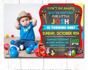 Printed Angry Birds Birthday Invitations , Angry Birds Party Supplies, Angry Birds Birthday Party, Angry Birds Invitation