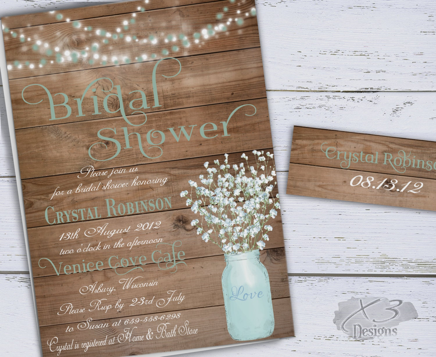 Wedding Shower Invitations Free: Rustic Bridal Shower Invitation Printable Baby's By X3designs