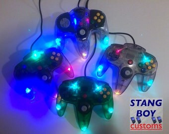 Nintendo 64 controller - customized with LED's and refurbished/repaired joystick!