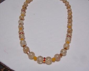 Beaded hand made necklace w/ Yellow Quartz