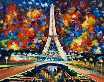 "36""x48"" Abstract Paris. Hand painted.  Oil on canvas-Stretched. Eiffel Tower."