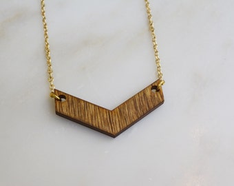 Thin Chevron Necklace - Wood