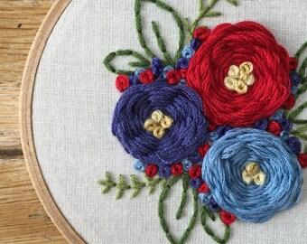 Floral Embroidery Hoop Art - Hoop Art - Wall Art - Home Wall Art - - Home Decor - Wall Hanging
