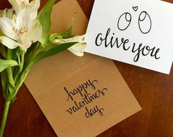 Printable Valentine, Valentine's Card, Olive You Greeting Card