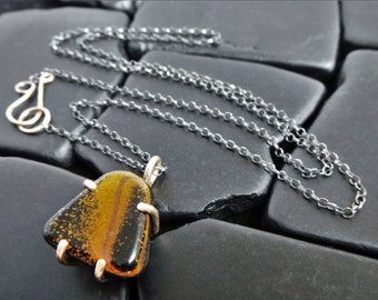Blue Tiger Eye and Sterling Silver Pendant - Black Stone Necklace - Silver and Gold Necklace - Tiger's Eye Necklace - Two Tone Necklace
