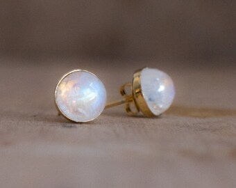 Moonstone Stud Earrings, June Birthstone, Moonstone 8mm Gold Ear Studs, Moonstone Jewellery, Wife Gift, White Crystal Earrings