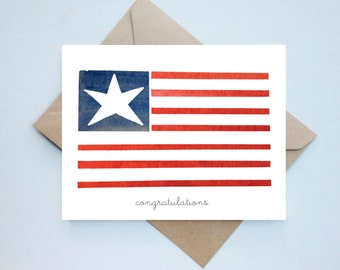 Patriotic Card //  citizenship - USA card - congratulations - citizenship card - watercolor us card - military wife - military family - usa