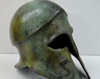 ON SALE Helmet Snake carved solid bronze Ancient Greek real size great helmet