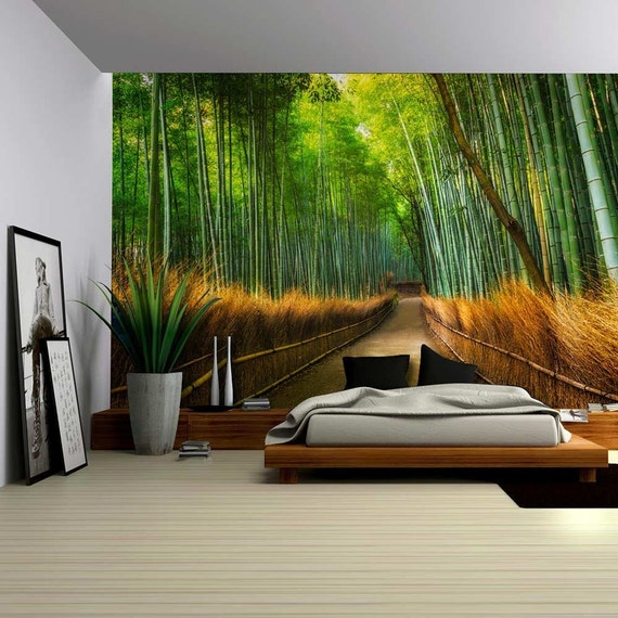 Mural of a pathway in a bamboo forest wall mural removable for Bamboo forest wall mural